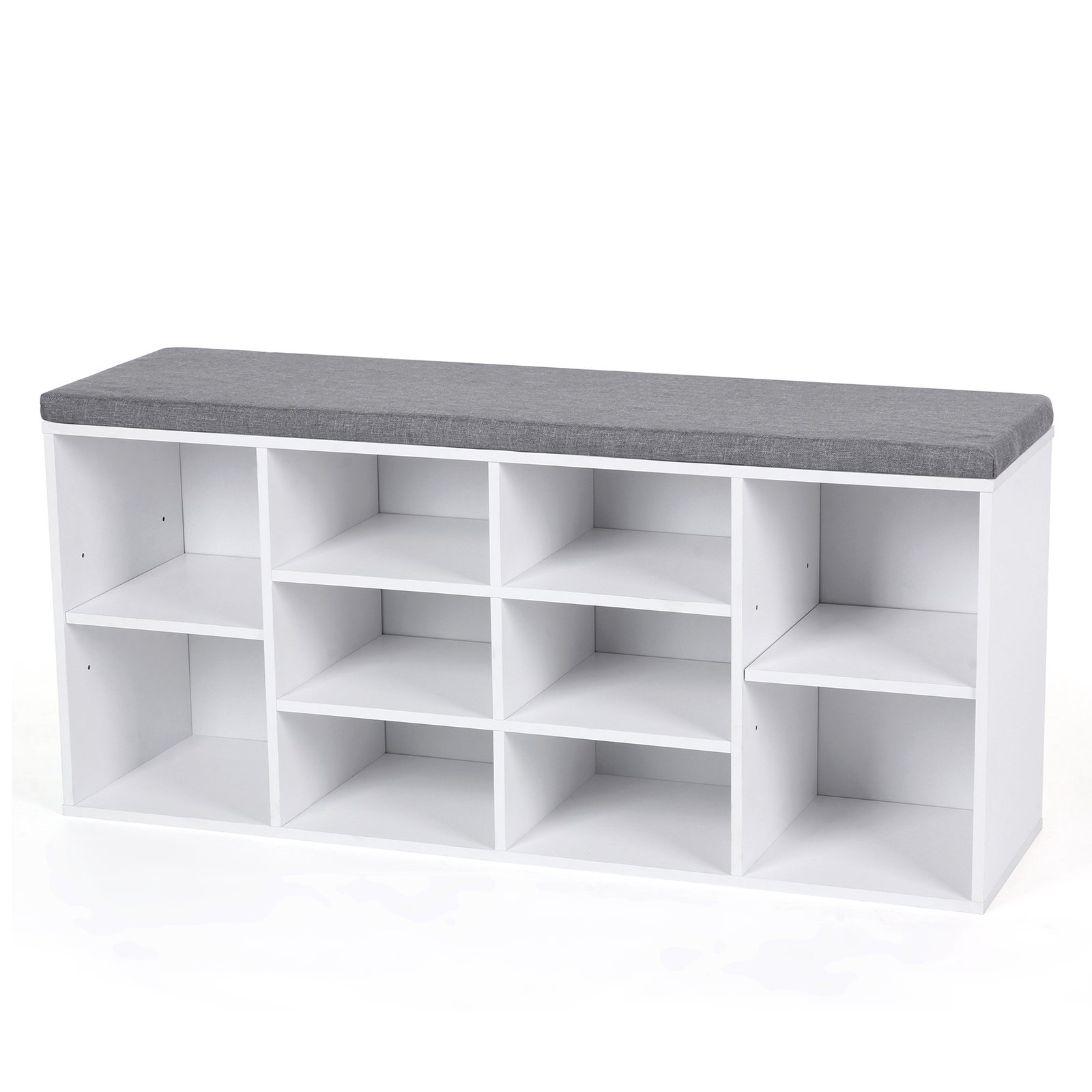 VASAGLE Cubbie Shoe Cabinet Storage Bench with Cushion, Adjustable Shelves, Holds up to 440lb, White ULHS10WT by VASAGLE
