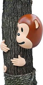 Hilarious Home Monkey Face Tree Décor Outdoor Garden Statue
