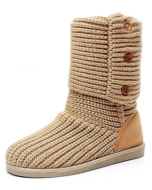Minetom Mujer Retro Otoño Invierno Botines Tejer de Ganchillo Zapatos Caliente 3 Botones Clásico Cardy Botas: Amazon.es: Ropa y accesorios