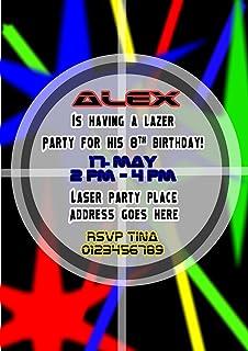 Laser Tag Party Invitations Birthday Invites Personalised Amazon