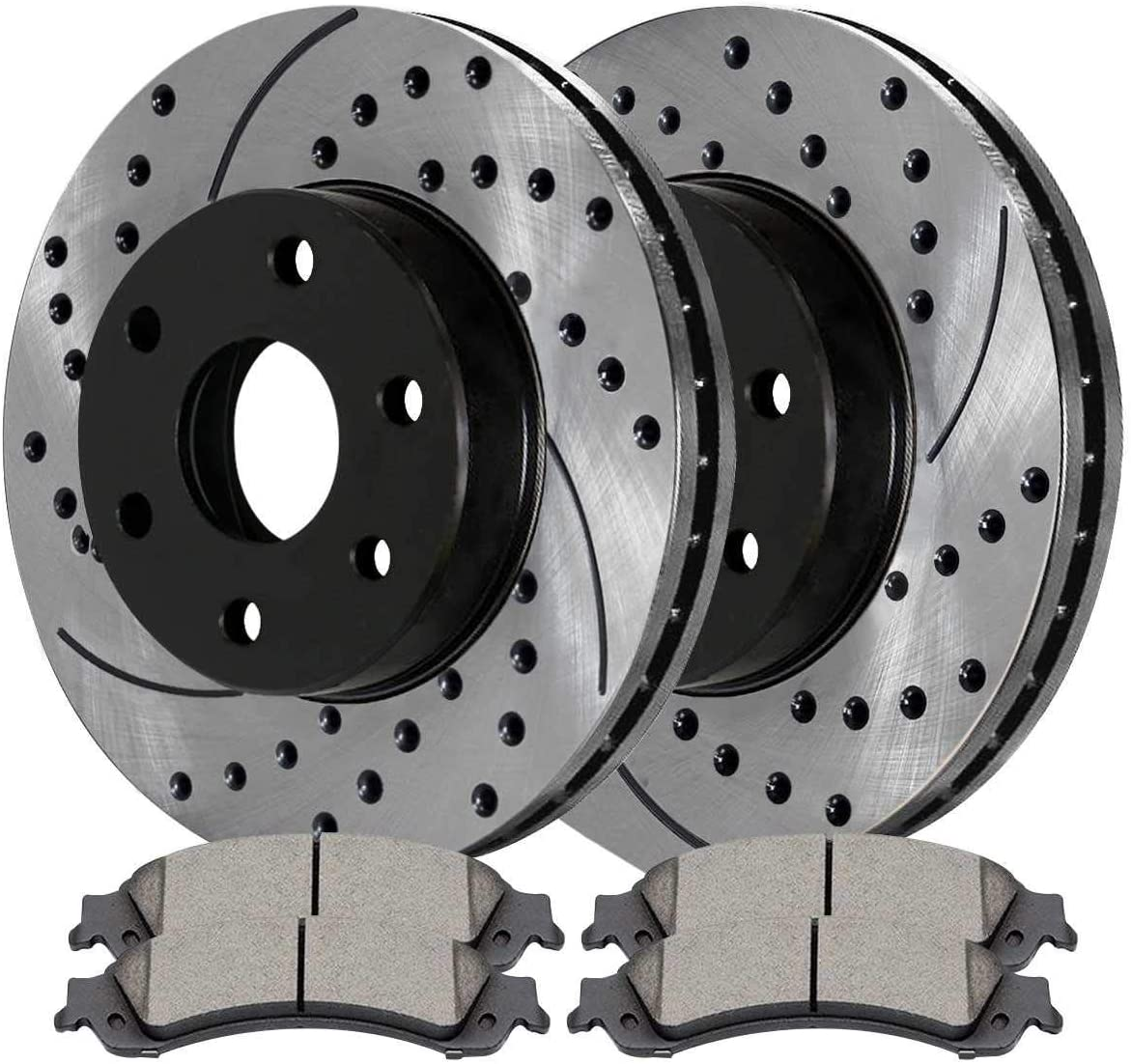 AutoShack SCDPR6508665086834 Rear Drilled and Slotted Brake Rotors and Ceramic Pads