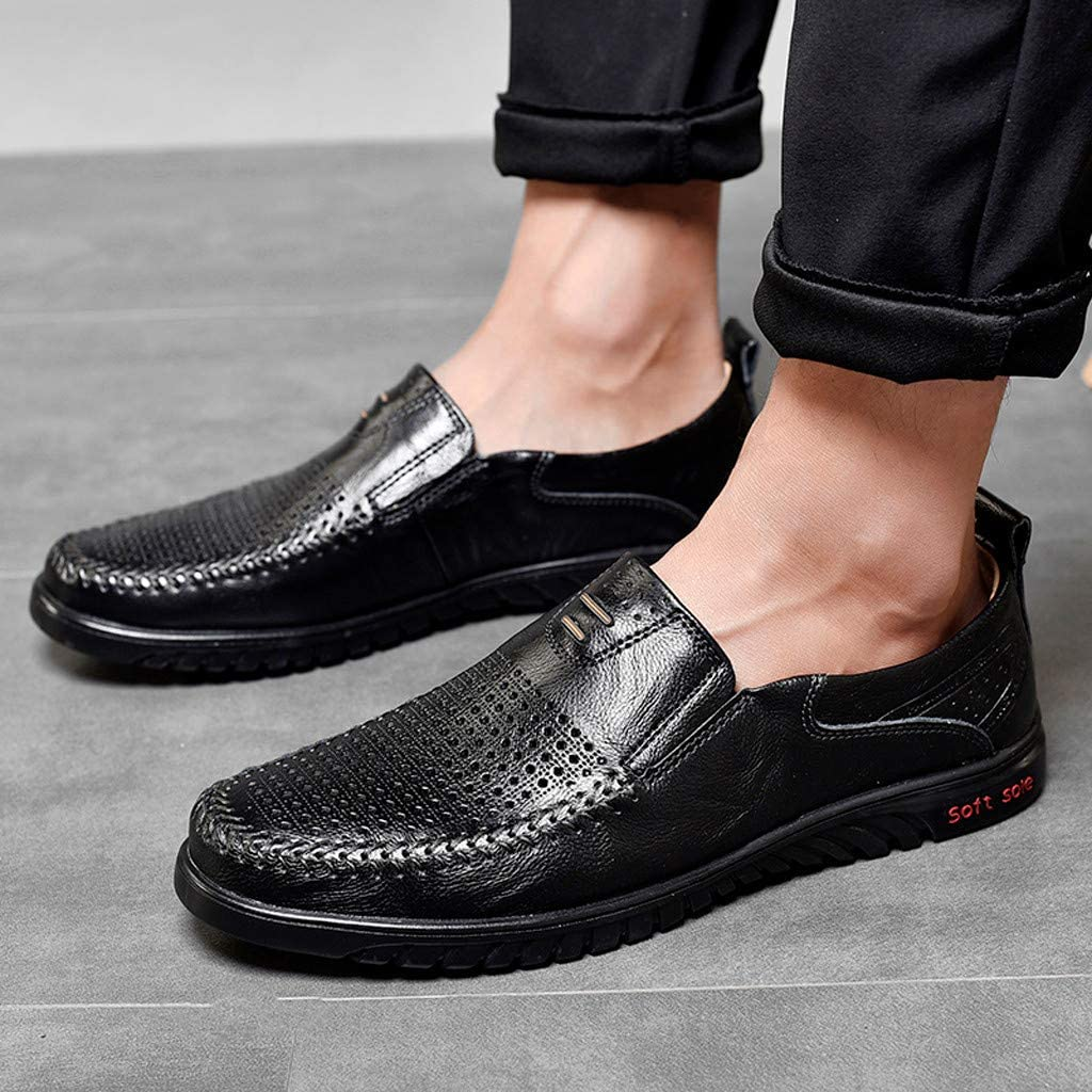 OFEFAN Mens Leather Shoes Slip on Casual Loafers Driving Moccasin Shoes