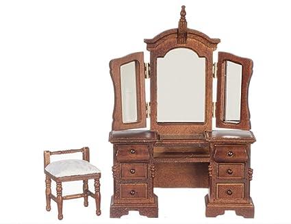 Dollhouse Furniture 1:12 Miniature Dresser Toilet Table Mirror Dressing Table