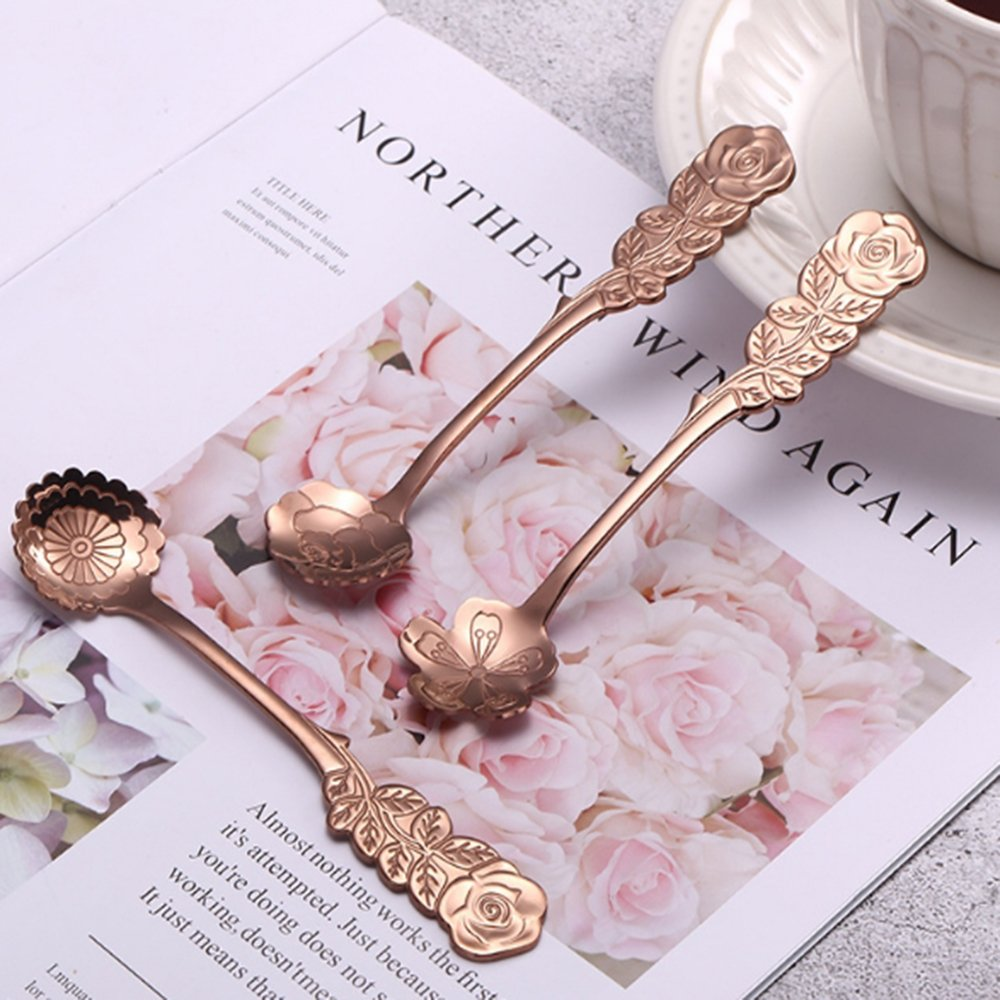 XYTMY Set of 8 Flower Coffee Measuring Spoon Tea Spoon Dessert Spoons Scoop Stainless Steel Tableware Stirring/Sugar/Stir/Bar/Mixing/Ice Cream Spoon for Kitchen Dining Bar, Condiment or Spice, Gold by XYTMY (Image #4)