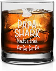 NeeNoNex Papa Shark Needs A Drink Do Do Do Do Whiskey Glass - Gift for New Dad