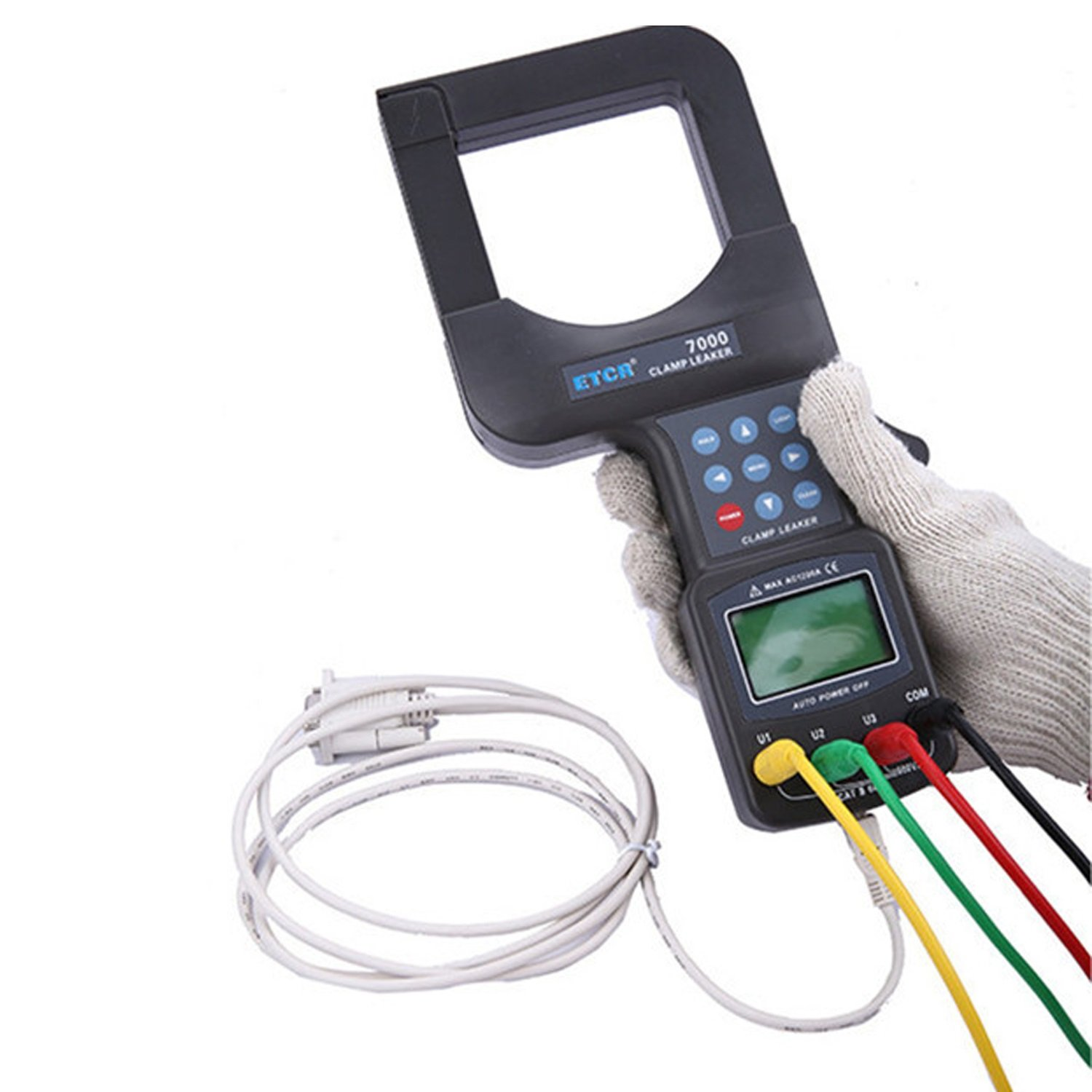 3 phase digital voltmeter with large diameter AC Leakage Current Clamp Meter RS232 Interface 99 Data Storage ETCR7000