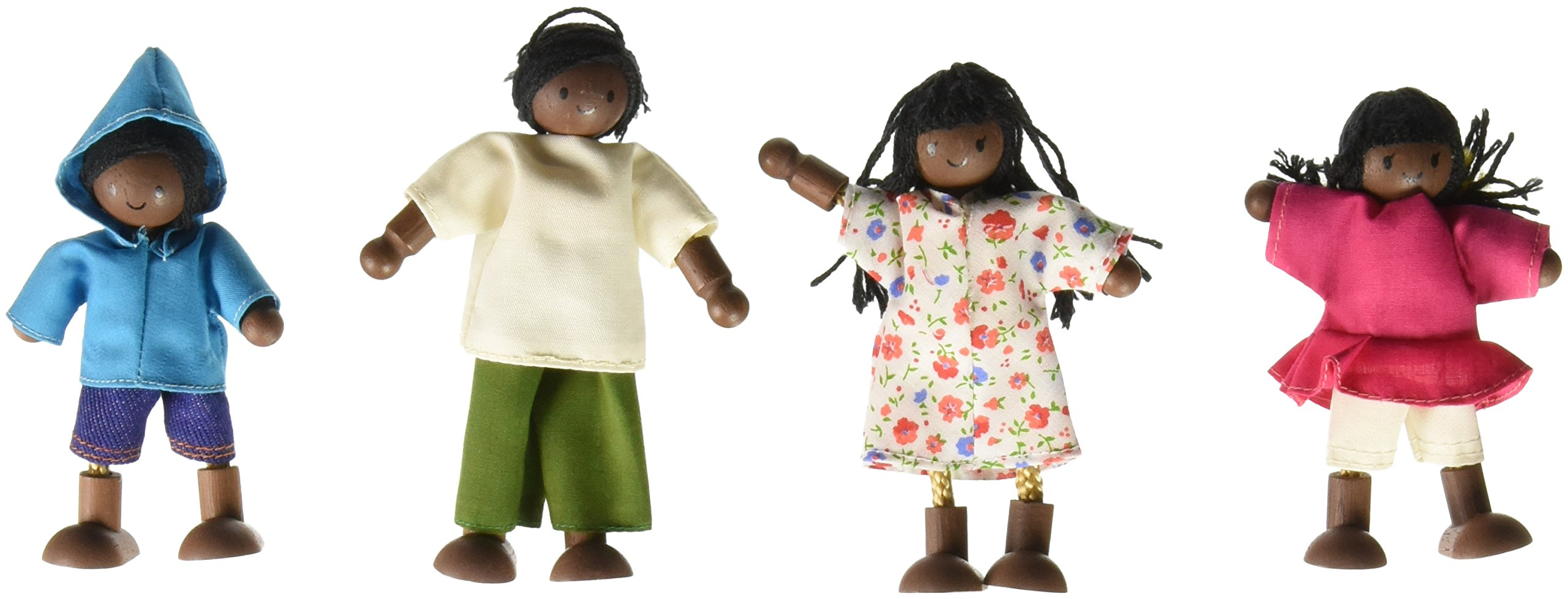PlanToys Wooden Doll Family, African American, Set of 4