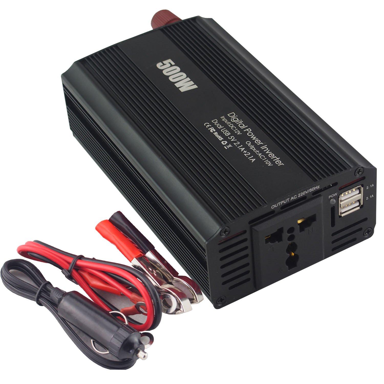 Belia 500W Power Inverter DC 12V to AC 240V 1000W Peak Solar Inverter Car Inverter with 2.1A Dual USB Car Adapter, Power Converter for Car Home RV Solar