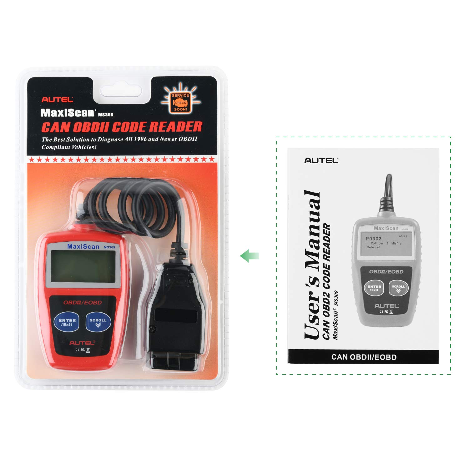 View Freeze Frame Data I//M Readiness Smog Check CAN Diagnostic Scan Tool Autel MS309 Universal OBD2 Scanner Check Engine Fault Code Reader Read Codes Clear Codes