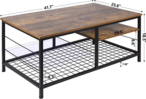 Leopard Coffee Table with Adjustable Shelf, Industrial Coffee Table with Metal Legs for Living Room, Home Office Coffee Table with Adjustable Storage Shelf Rustic Brown