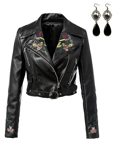Sitengle Mujer Chaqueta Imitación Cuero Moto Cazadoras Biker Abrigo Cortos con Cremallera Jacket Bordado