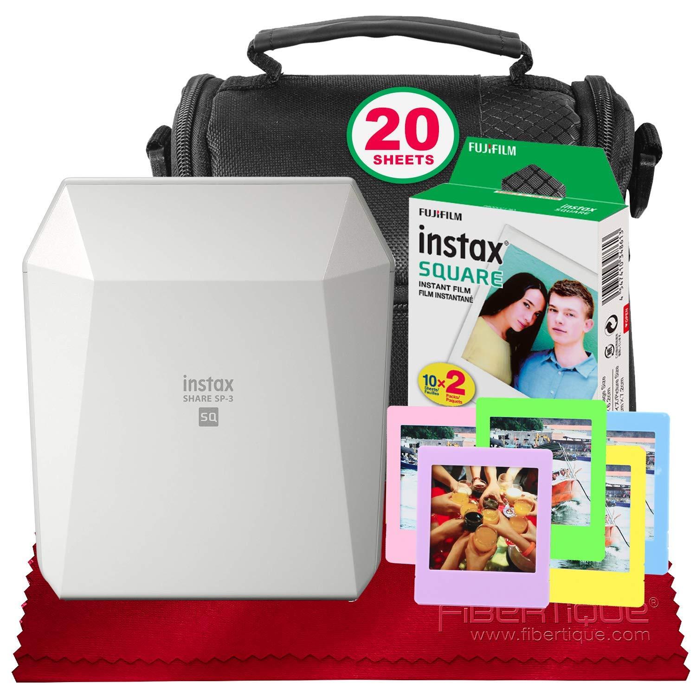 Fujifilm Instax Share Smartphone Printer SP-3 (White) with Instant Film, Deluxe Camera Case, and FiberTique Cloth (USA Warrantty) by Fujifilm