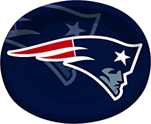 Creative Converting Officially Licensed NFL Oval Paper Platters, 8-Count, New England Patriots