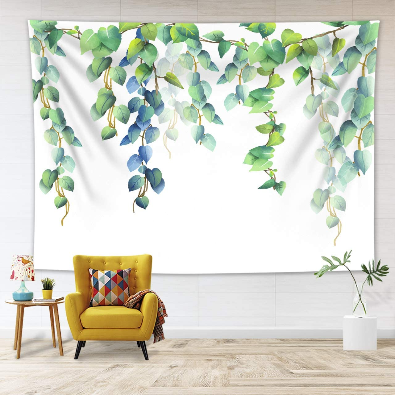 LB Watercolor Blue Green Leaves Tapestry Wall Hanging Fresh Mint Green Leaf Botanical Tapestry Simple Floral Decorative Wall Hanging for Spring Bedroom Living Dining Room Home Decor 60''Lx40''W