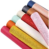 """Craft Sewing for Making Bags Sntieecr 36 Pieces Assorted Colors PU Leather Fabric Sheets 21cm x 16cm Hair Bow Litchi Fabric Cotton Back 8.3/"""" x 6.3/"""""""