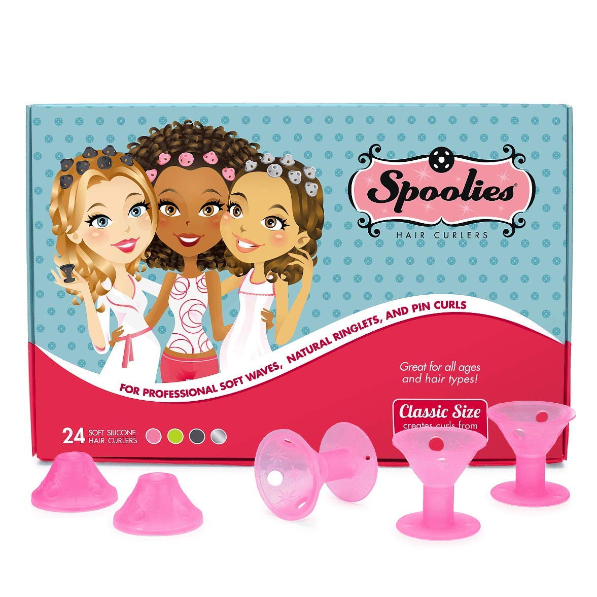 Original Spoolies Hair Curlers, Medium Size – 24 Count (Playful Pink) - Marvelous Mrs. Maisel Rollers for Retro Styles, Hair Extensions + Wigs