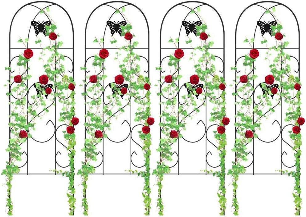 "4 Pack Garden Trellis for Climbing Plants 60"" x 18"" Rustproof Sturdy Black Iron Trellis for Potted Plant Support Butterfly Metal Trellises for Climbing Roses Vines Flower Vegetables Cucumber Clematis"