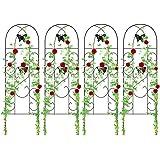 "Amagabeli 4 Pack Garden Trellis for Climbing Plants 60"" x 18"" Rustproof Sturdy Black Iron Trellis for Potted Plant…"