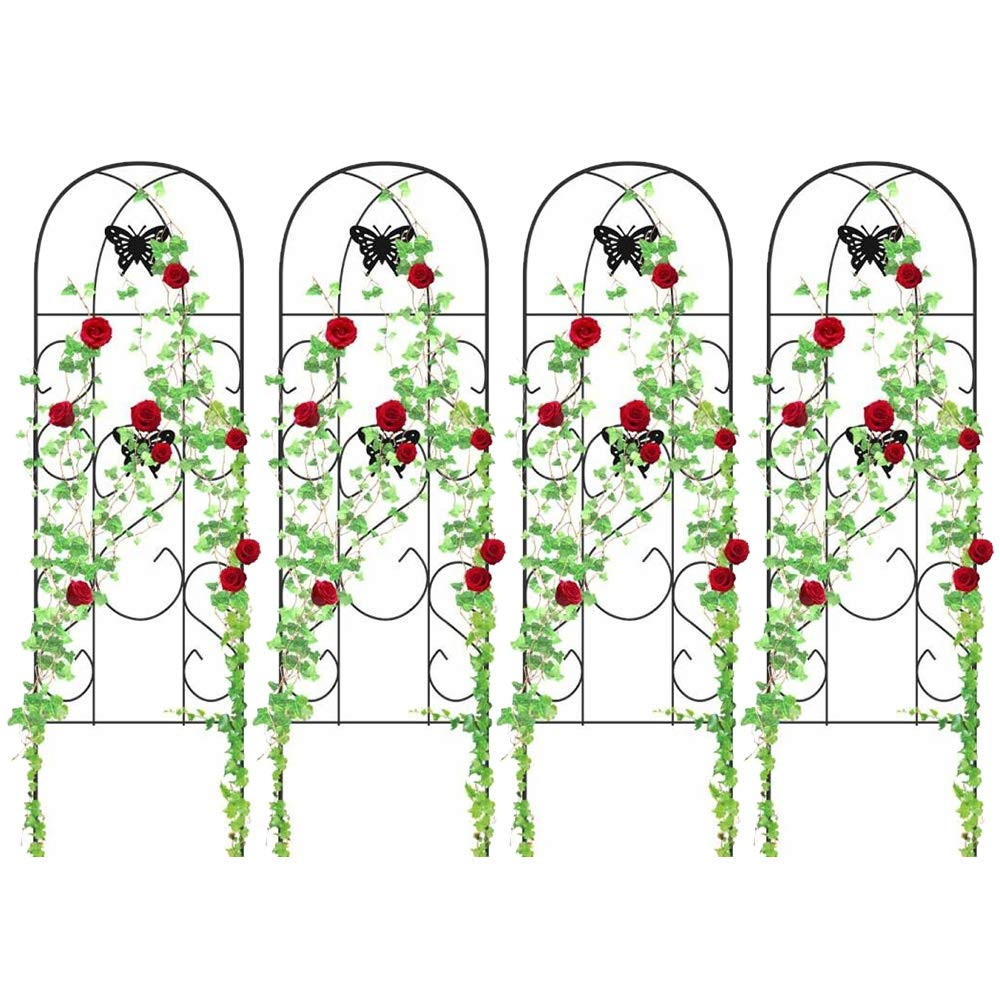 4 Pack Garden Trellis for Climbing Plants 60'' x 18'' Rustproof Sturdy Black Iron Trellis for Potted Plant Support Butterfly Metal Trellises for Climbing Roses Vines Flower Vegetables Cucumber Clematis