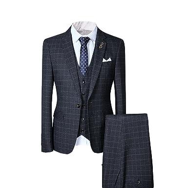 YFFUSHI Men\'s Plaid 3 Piece Suit Slim Fit One Button Formal Navy ...