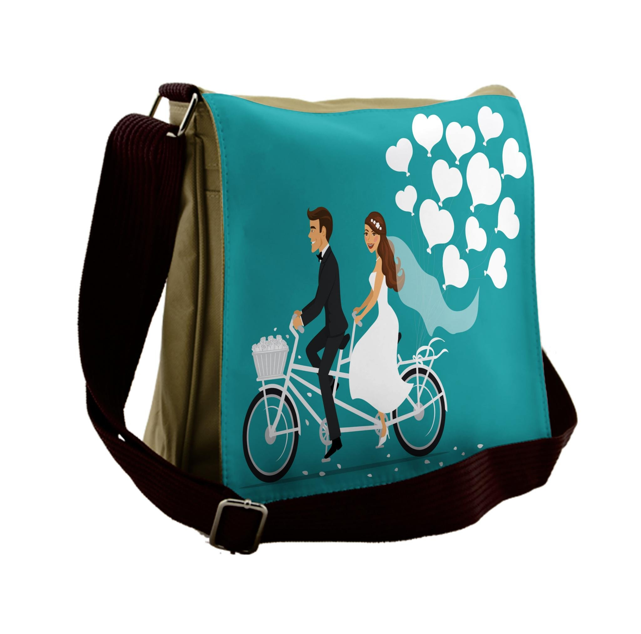 Lunarable Wedding Messenger Bag, Tandem Bicycle Balloons, Unisex Cross-body