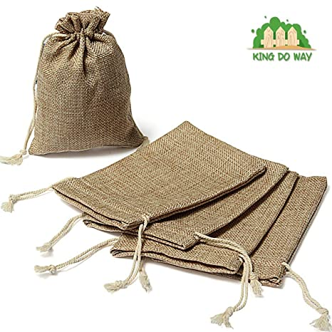 Paquete de 10 rey DO forma bolsas de Arpillera de Yute bolsa ...