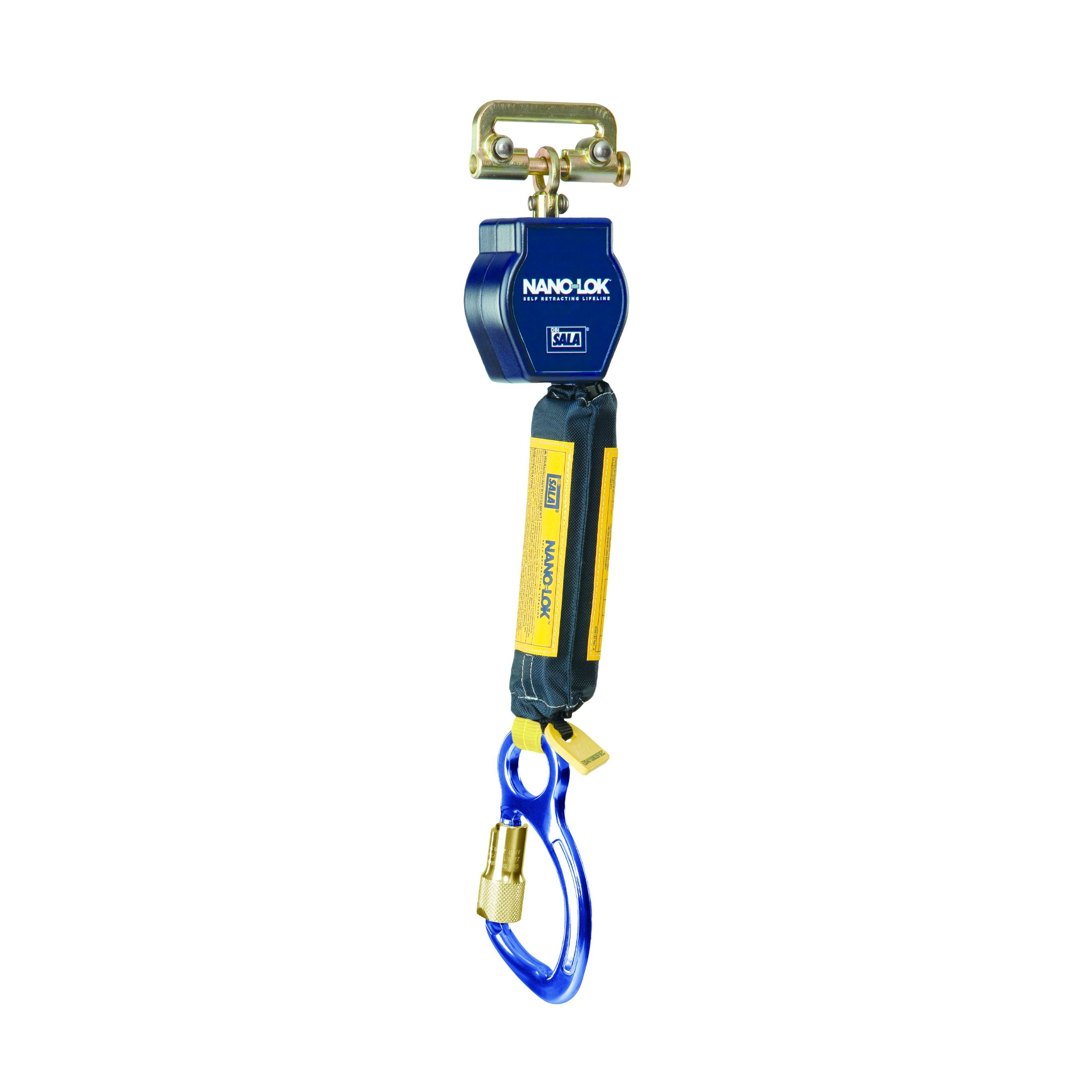 3M DBI-SALA Nano-Lok 3101225 SRL, 6', 3/4'' Dyneema Polyester Web, Aluminum Carabiner, Quick Connector for Harness Mounting, Navy/Yellow by 3M Personal Protective Equipment