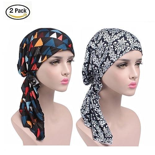 2PCS Donna turbante ,Sciarpe testa confortevole per per il make-up, sonno, perdita dei capelli, canc...