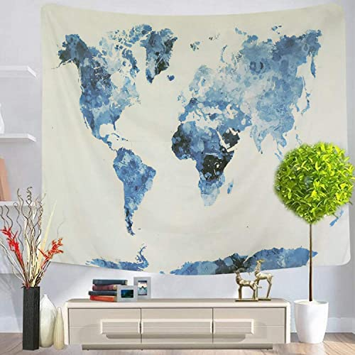 PANDAYAQ World Map Tapestry Blue Map Tapestry World Tapestry Wall Hanging for Room Blue Map-1, L-59.1 X 82.7 inches