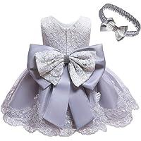 Gaga city Baby barn flickor rosett klänning ärmlös spets tyll prinsessklänning med huvudbonader för 3 månader till 6 år