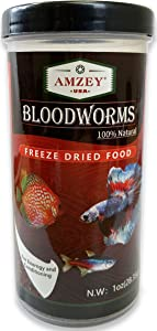Blood Worms 1 oz -100% Natural Freeze Dried Blood Worms - Aquarium Fish Food - High Protein Food for Betta Fish, Food for Goldfish, Food for Cichlid, Food for Guppy, Food for Discus, Food for Turtle