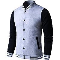 b29c2de522fd LTIFONE Mens Lightweight Varsity Jacket Button Down Baseball College  Letterman Jacket