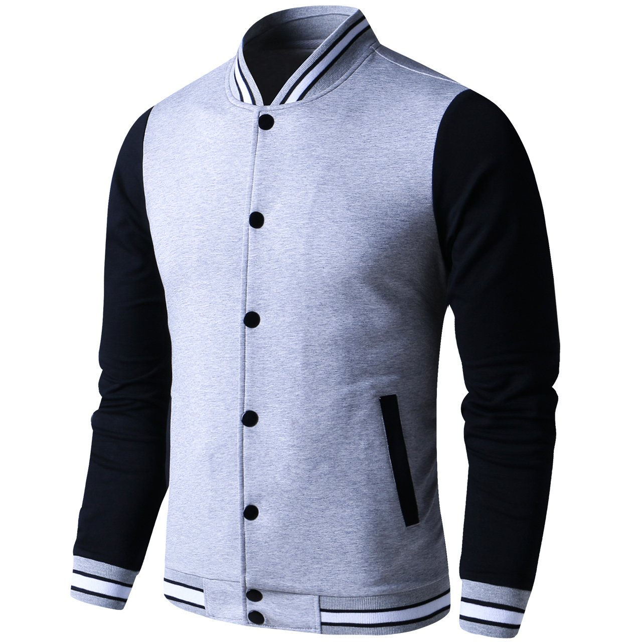 LTIFONE Mens Lightweight Varsity Jacket Button Down Baseball College Letterman Jacket(Grey,S)