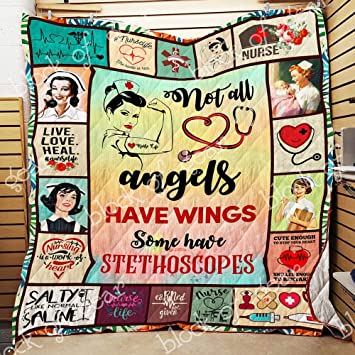 Twin All-Season Quilts Comforters with Reversible Cotton King//Queen//Twin Size Angels Have Stethoscopes Nurse Quilt MH32 Best Decorative Quilts-Unique Quilted for Gifts
