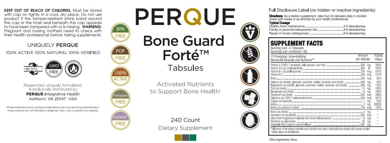 Perque Bone Guard Forte 20 240 Tablets by Perque