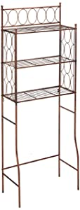Kings Brand Furniture Brushed Copper Finish Metal Free Standing Over The Toilet Shelf Bathroom Organizer