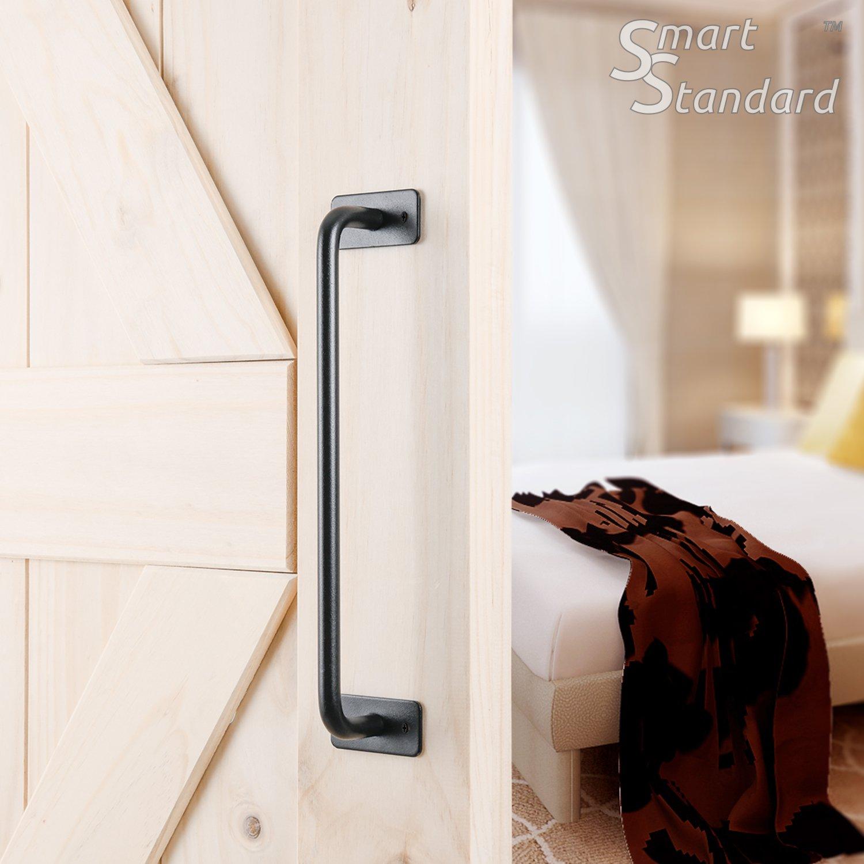 """SMARTSTANDARD 12"""" Barn Door Handle Black Flush Square Base Round Handle Pull for Cabinet Door Handle"""