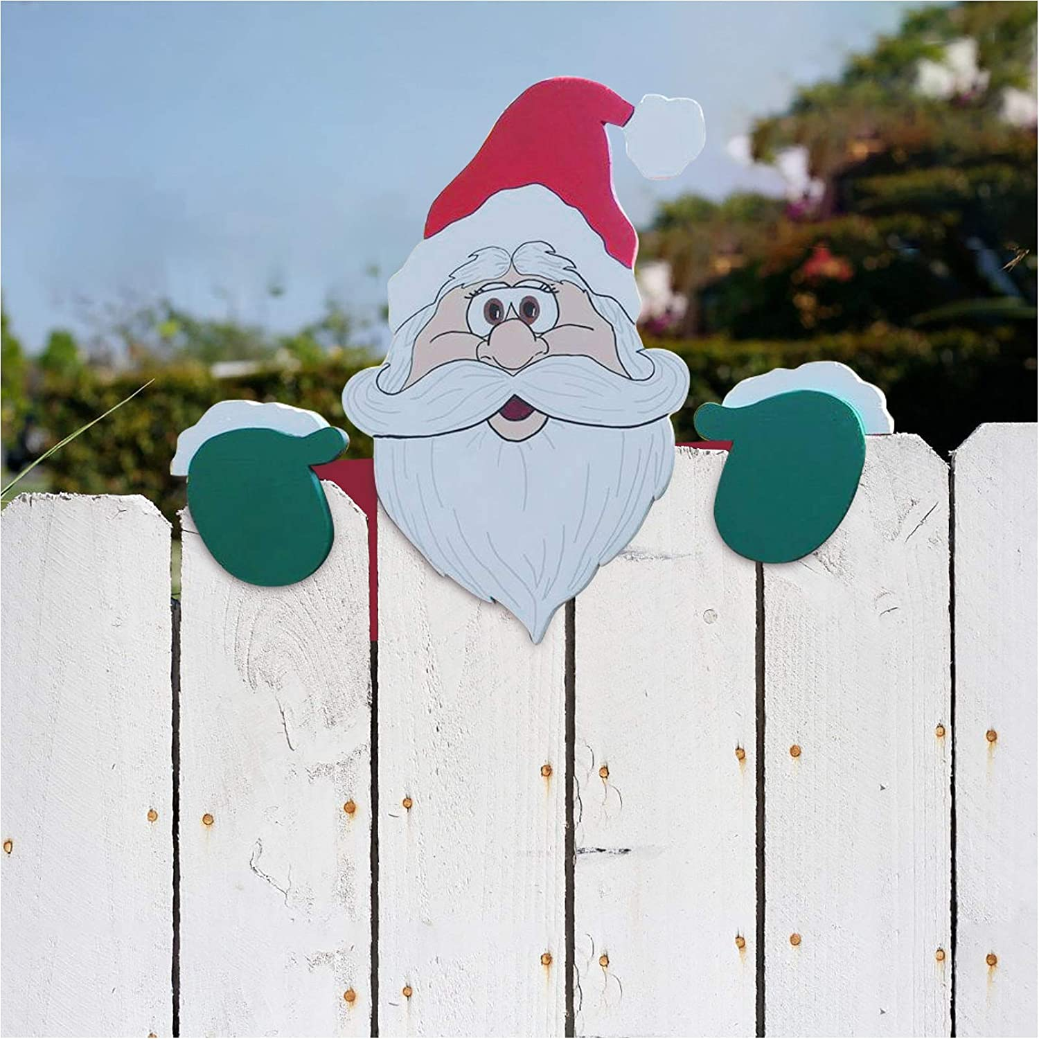 HCBY Christmas Yard Art Fence Peeker, Animal Fence and Garden Peeker, Charming Christmas Peeks at Santa Claus,for Home Outdoor Yard Lawn Pathway Parking Fence Walkway Driveway Holiday Decorations