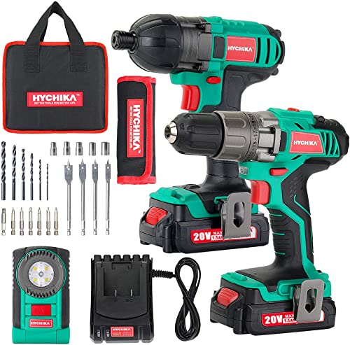 Cordless Drill Driver 20V Max 35Nm and Impact Driver, HYCHIKA Drill Combo Kit, 2×1.5Ah Batteries,1H Fast Charging,300 150lm LED Flashlight,22PCS Accessories for Drilling Wood, Metal and Plastic