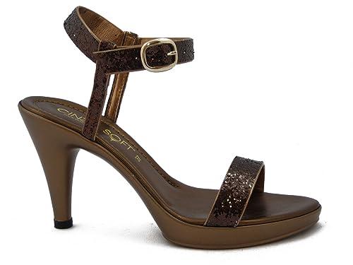 37481504fc9796 Cinzia Soft, Sandali Donna Eleganti con Glitter Bronzo, Tacco Alto 9 cm e  Plateau 1,5 cm, 2510: Amazon.it: Scarpe e borse