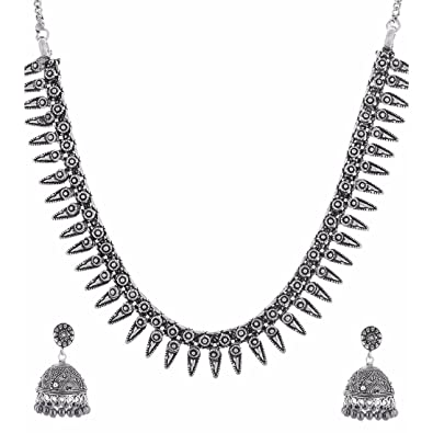 2a68e43cf0 Buy Multiline company German Silver jewellery set for Women Online at Low  Prices in India | Amazon Jewellery Store - Amazon.in