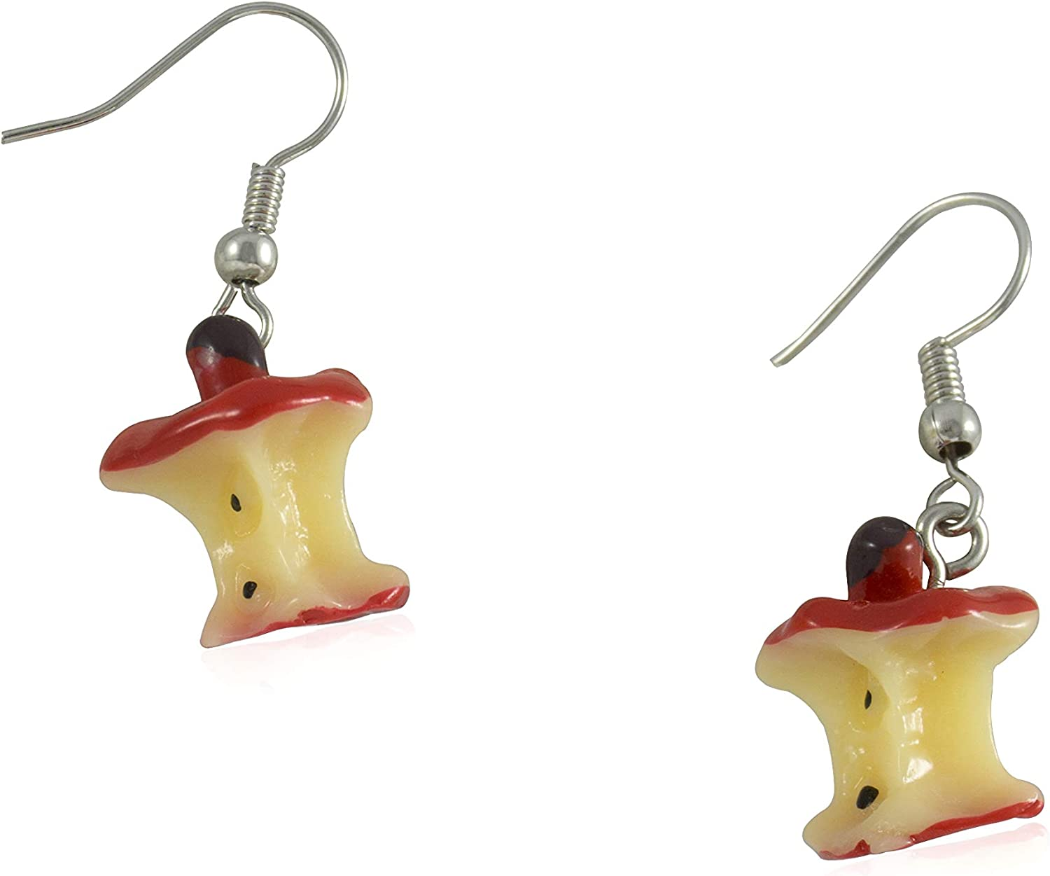 FidaShop New Red Apple Core Asymmetrical Shape Dangle Earrings, Lightweight Charms Acrylic Earrings for Women, Teens, Girls