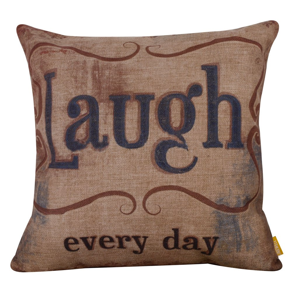 LINKWELL 18''x18'' Vintage Love Beyond Words Laugh Every Day Burlap Cushion Covers Pillow Case