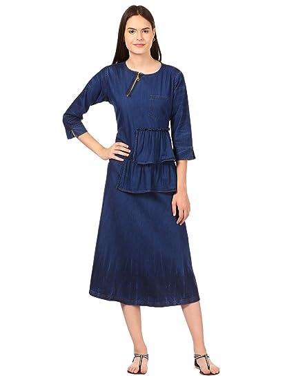 552f59a3a8a Saadgi Women's Short Denim Dress- Knee Length Blue: Amazon.in ...