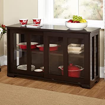 Target Marketing Systems Pacific Stackable Cabinet With Glass Door Espresso