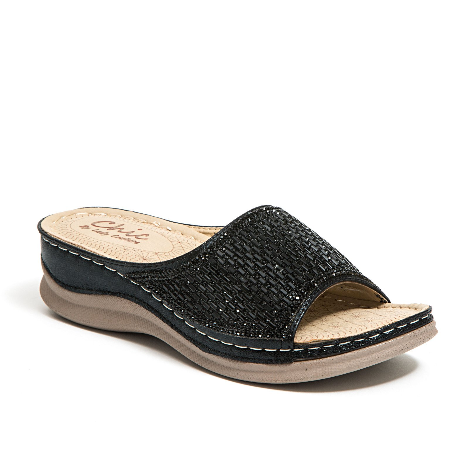 Lady Couture Glitz Slide with a Padded Foot Bed Women's Shoes Chic FINE Black 41