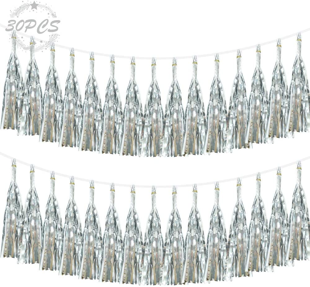 30 pcs Shiny Silver Paper Tassels Fringe Banner, Silver Foil Tassel Garland, DIY Kit Party Metallic Foil Hanging Garland, Table Decor, Party Wall Backdrop Decorations