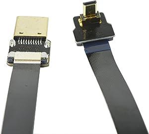 Thin HDMI Flat Slim FPV HDMI Cable Micro HDMI male 90 degree to Standard HDMI full HDMI Normal HDMI for Panasonic lumix GH4 blackmagic BMPCC sony alpha A5000 A6000 A7S A7R 60cm Black