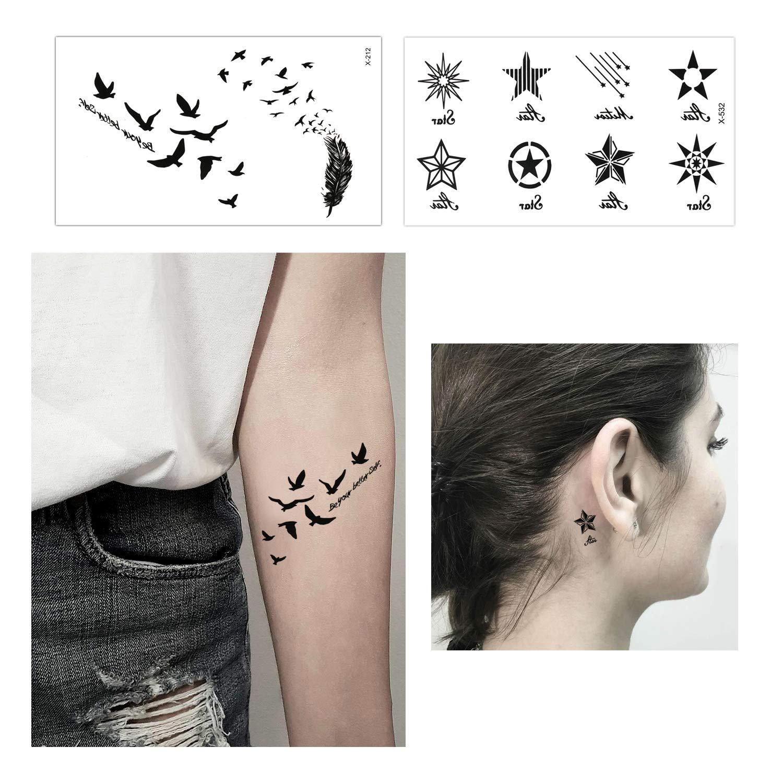 Konsait Tatuajes temporales para adultos Mujer hombre Niños (30 hojas), impermeable Tatuaje Temporal Adhesivos Tatuajes de cuerpo temporales brazo cuello: ...