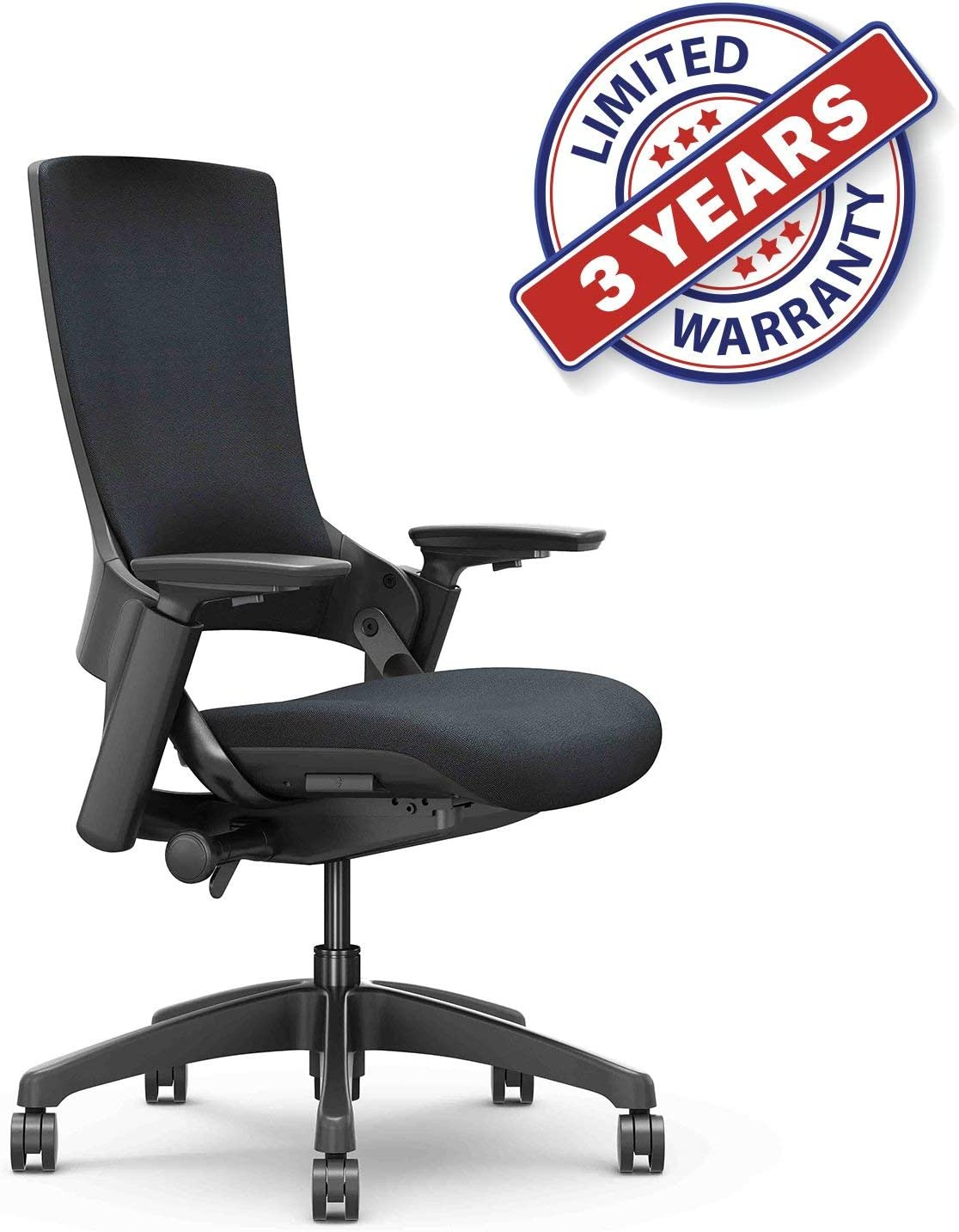CLATINA Ergonomic High Swivel Executive Chair with Adjustable Height 3D Arm Rest Lumbar Support and Upholstered Back for Home Office Black New Version